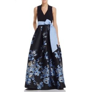 Eliza j floral bow v neck sleeveless dress gown